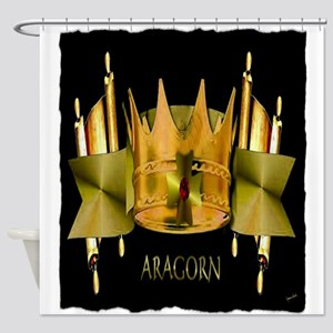 golden crown with scrolls, Shower Curtain