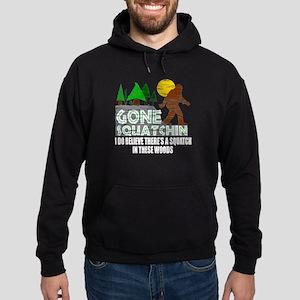 Distressed Original Gone Squatchin Design Hoodie (