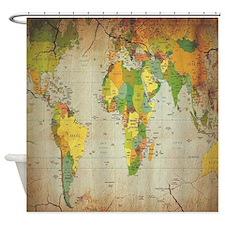 Vintage World Map Shower Curtain