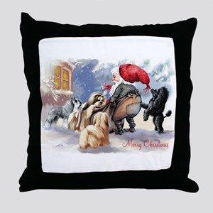 santa and his dogs Throw Pillow