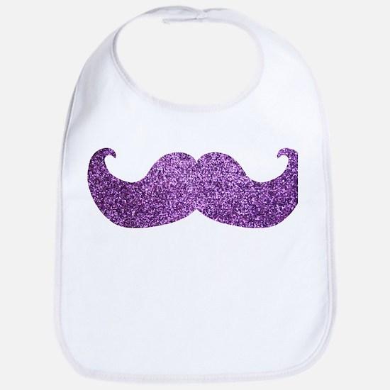 Purple Bling Mustache (Faux Glitter) Bib