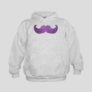 Purple Bling Mustache (Faux Glitter) Kids Hoodie