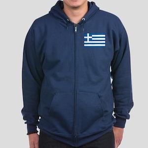 Greece - Greek Flag Zip Hoodie (dark)