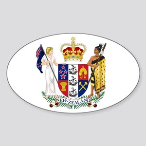 Coat of Arms New Zealand Sticker (Oval)