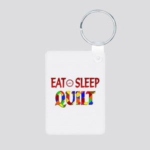 Eat Sleep Quilt Aluminum Photo Keychain
