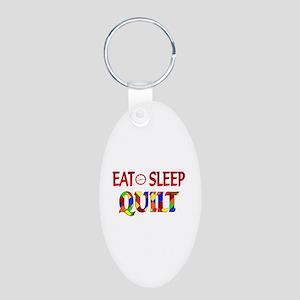 Eat Sleep Quilt Aluminum Oval Keychain