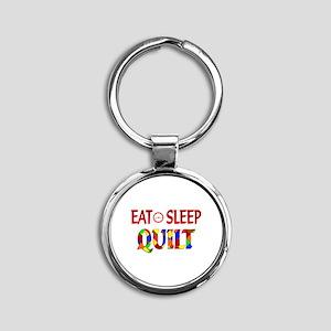 Eat Sleep Quilt Round Keychain