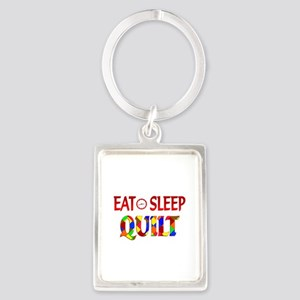 Eat Sleep Quilt Portrait Keychain
