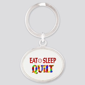 Eat Sleep Quilt Oval Keychain