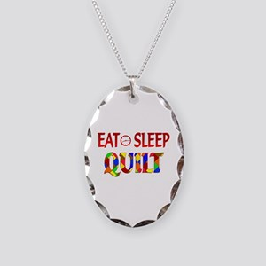 Eat Sleep Quilt Necklace Oval Charm