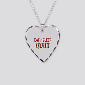 Eat Sleep Quilt Necklace Heart Charm