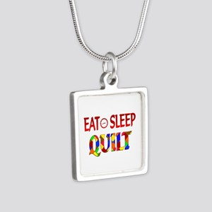 Eat Sleep Quilt Silver Square Necklace