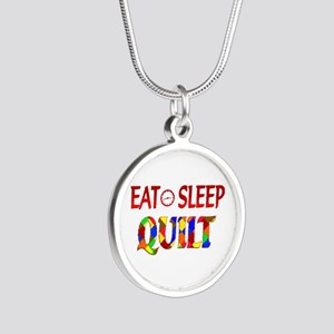 Eat Sleep Quilt Silver Round Necklace