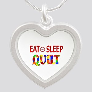 Eat Sleep Quilt Silver Heart Necklace