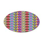 Shiny Hearts Pattern Oval Car Magnet
