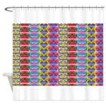 Shiny Hearts Pattern Shower Curtain
