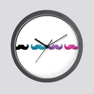Colorful mustaches in a row (black, blue, purple a