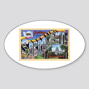 Sacramento California Greetings Oval Sticker