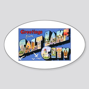 Salt Lake City Utah Greetings Oval Sticker
