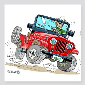 "Willys-Kaiser CJ5 jeep Square Car Magnet 3"" x 3"""