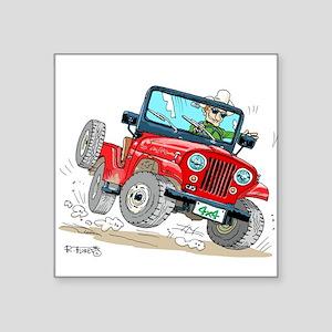 "Willys-Kaiser CJ5 jeep Square Sticker 3"" x 3"""