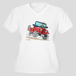 Willys-Kaiser CJ5 jeep Women's Plus Size V-Neck T-