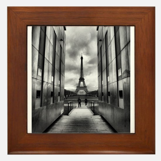 Eiffel tower viewed from wall for peace Framed Til