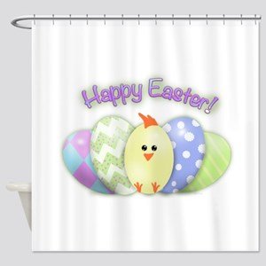 Happy Easter Chick (txt) Shower Curtain