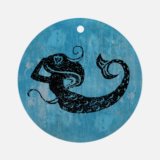 Worn Mermaid Graphic Ornament (Round)