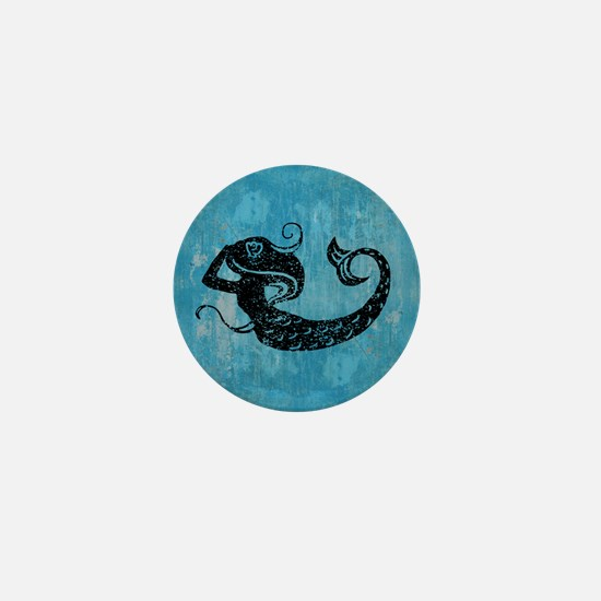 Worn Mermaid Graphic Mini Button