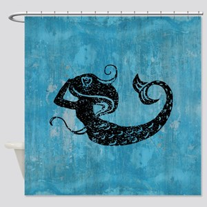 Worn Mermaid Graphic Shower Curtain
