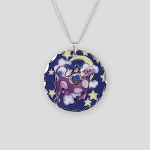 Purple Cow Necklace Circle Charm
