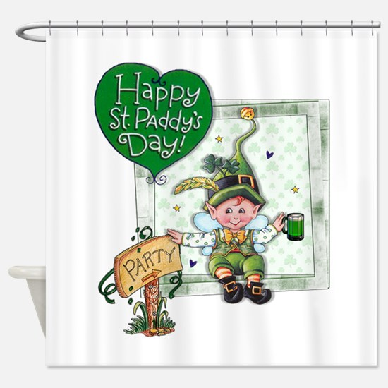 Happy St Paddys Day Elf Shower Curtain