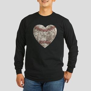 Baseball Vintage Distress Long Sleeve Dark T-Shirt