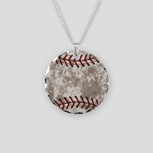 Baseball Vintage Distressed Necklace Circle Charm