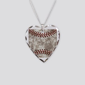 Baseball Vintage Distressed Necklace Heart Charm