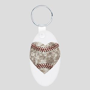 Baseball Vintage Distressed Aluminum Oval Keychain