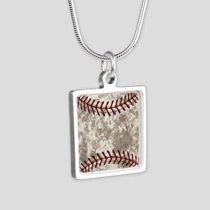 Baseball Vintage Distresse Silver Square Necklace