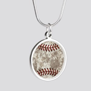 Baseball Vintage Distressed Silver Round Necklace