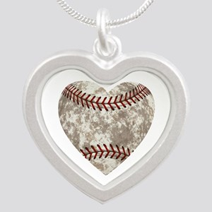 Baseball Vintage Distressed Silver Heart Necklace