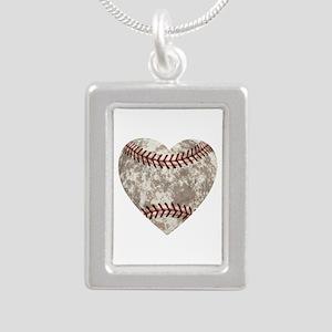 Baseball Vintage Distres Silver Portrait Necklace