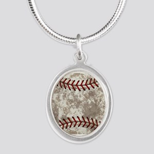 Baseball Vintage Distressed Silver Oval Necklace