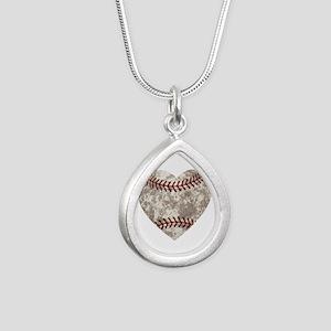 Baseball Vintage Distres Silver Teardrop Necklace
