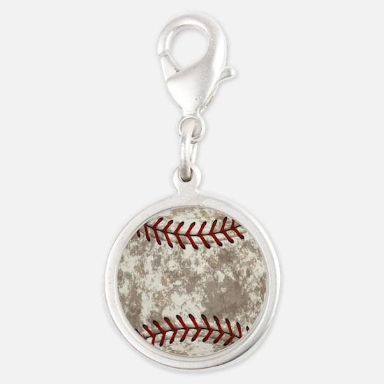 Baseball Vintage Distressed Silver Round Charm