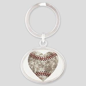 Baseball Vintage Distressed Oval Keychain