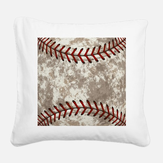 Baseball Vintage Distressed Square Canvas Pillow