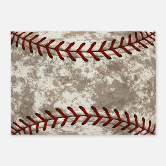 Baseball Vintage Distressed 5'x7'Area Rug