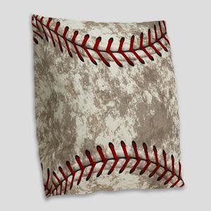 Baseball Vintage Distressed Burlap Throw Pillow