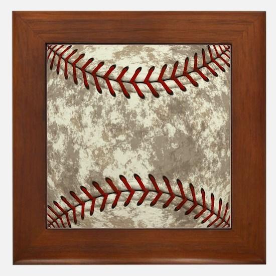 Baseball Vintage Distressed Framed Tile