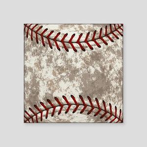 "Baseball Vintage Distressed Square Sticker 3"" x 3"""